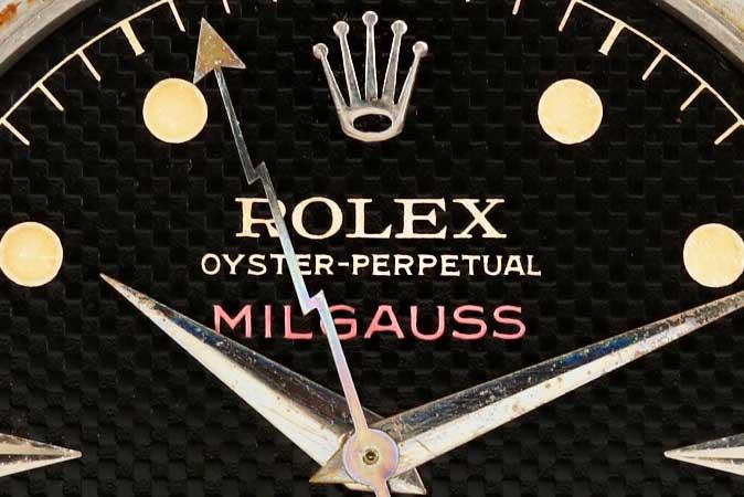 rare 1950s rolex milgauss dial with lightning bolt hand