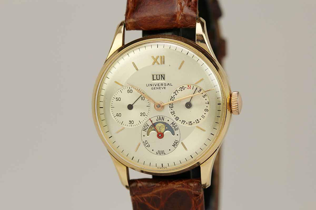 1950 universal geneve triple date moon phase watch for sale mens vintage calendar date for Calendar watches