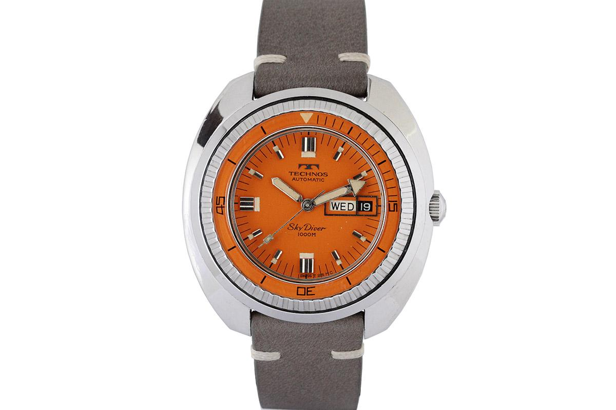 1970 technos sky diver 1000m watch for sale mens vintage date diver split seconds time only for Technos watches