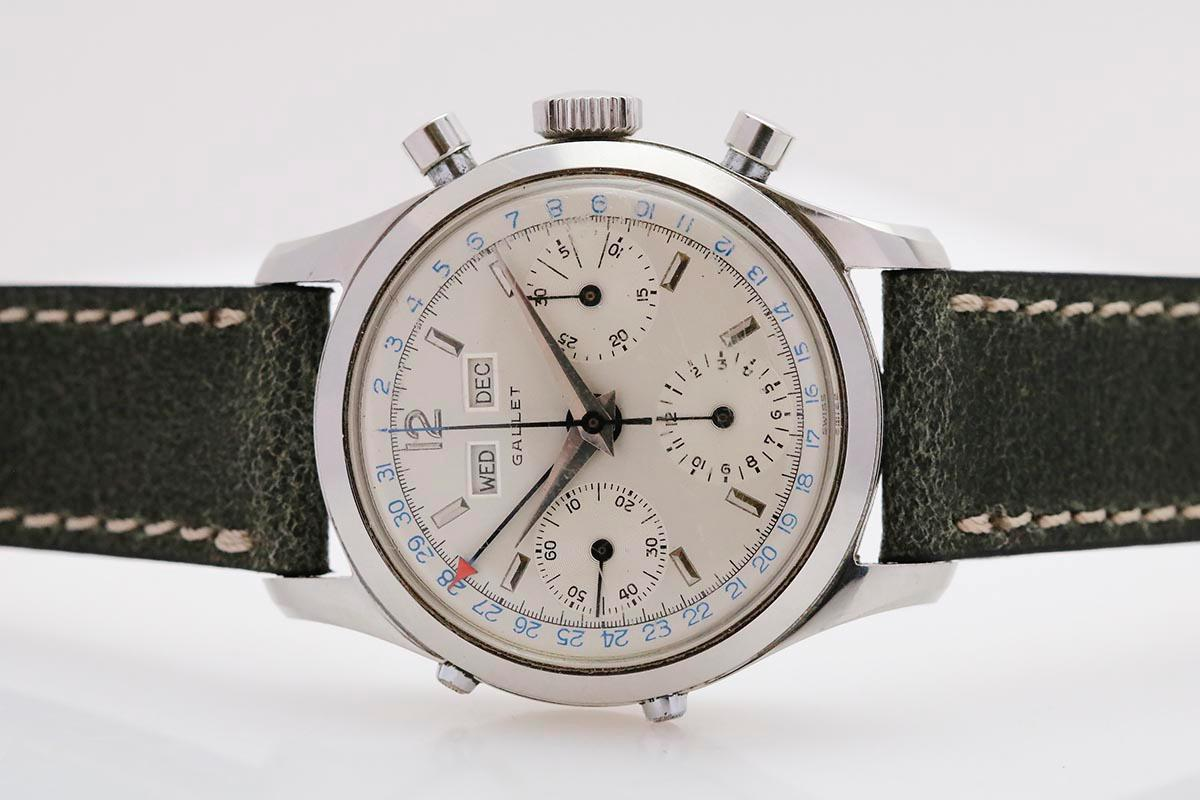 1950 Gallet Triple Date Chronograph Watch For Sale - Mens