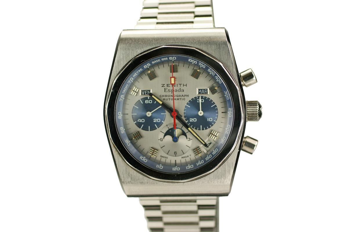 1970 zenith espada watch for sale mens vintage chronograph moonphase triple date calendar for Zenith watches
