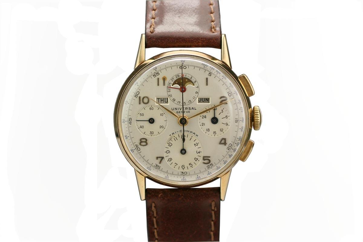 1950 universal geneve tri compax watch for sale mens vintage chronograph for Watches geneva