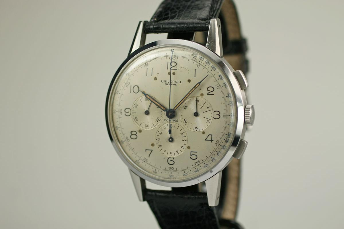 Vintage Tudor Watches >> 1940 Universal Geneve Oversized Chronograph Watch For Sale ...
