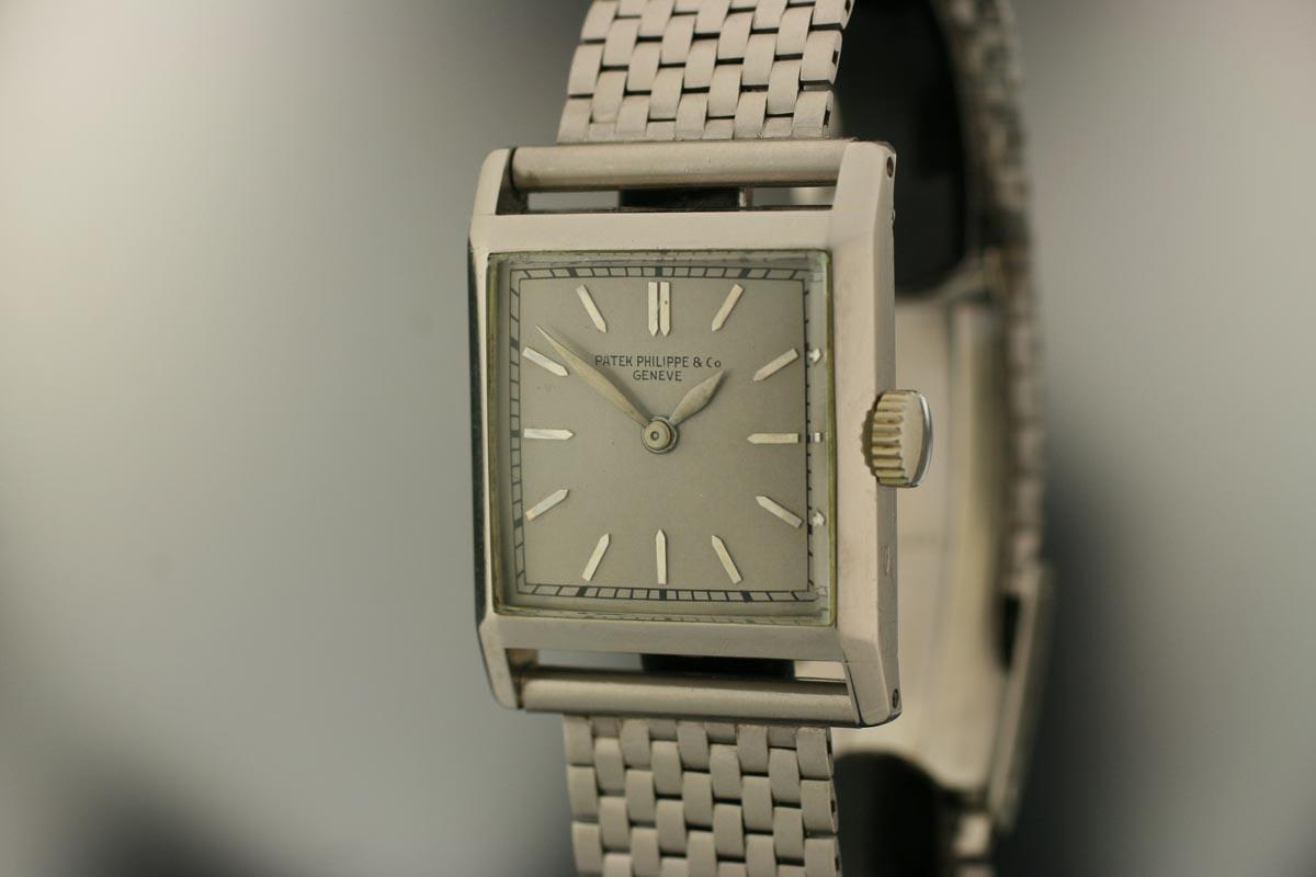 1940 Patek Philippe Platinum Square Case Watch For Sale