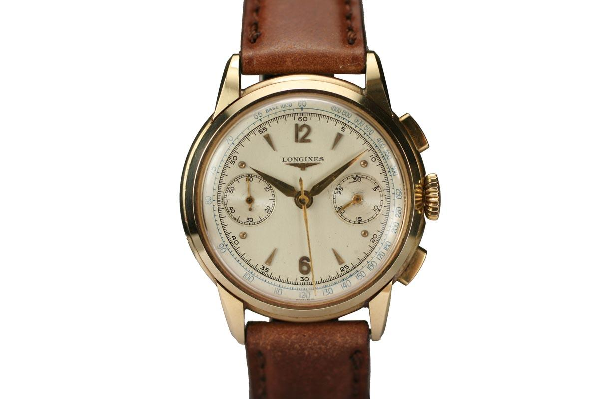 1950 Longines Fly Back Chronograph Watch For Sale  Mens Vintage