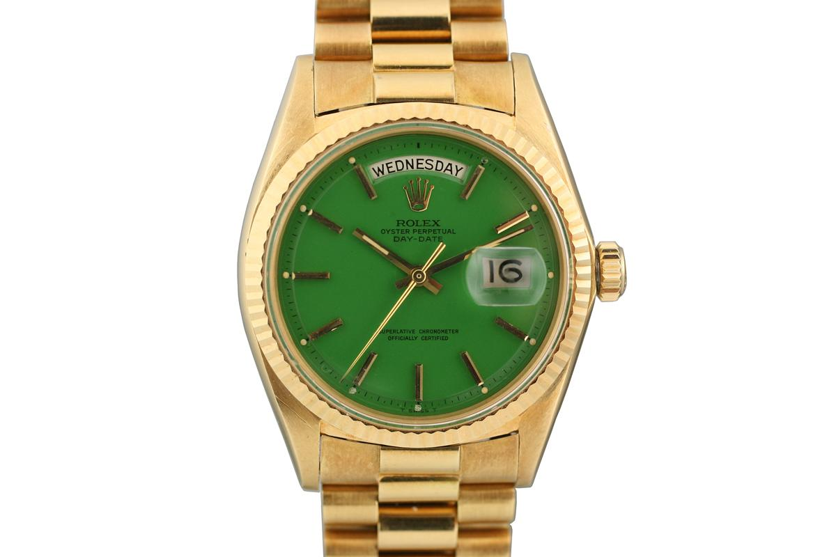 next stella face details watch dial day watches presidential rolex prev ref green close date