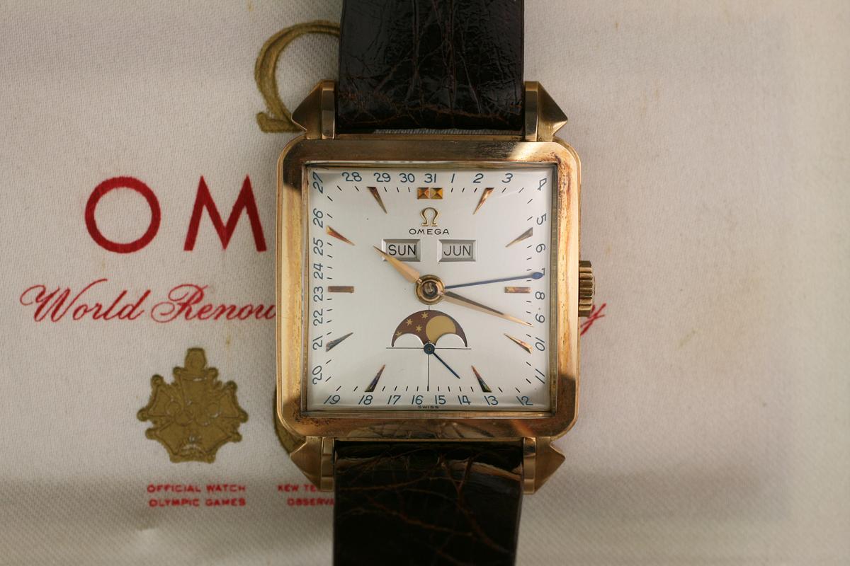 "Hublot Watch Price >> 1950 Omega ""Cosmic"" Triple Date Moon Phase Watch For Sale - Mens Vintage Triple date calendar"