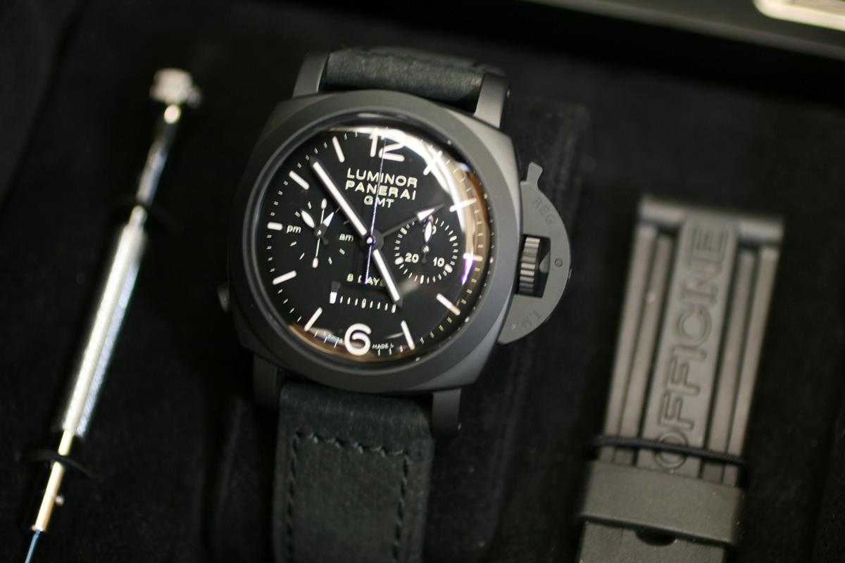 2006 Panerai 8 Days Gmt Chronograph Pam 317 Watch For Sale