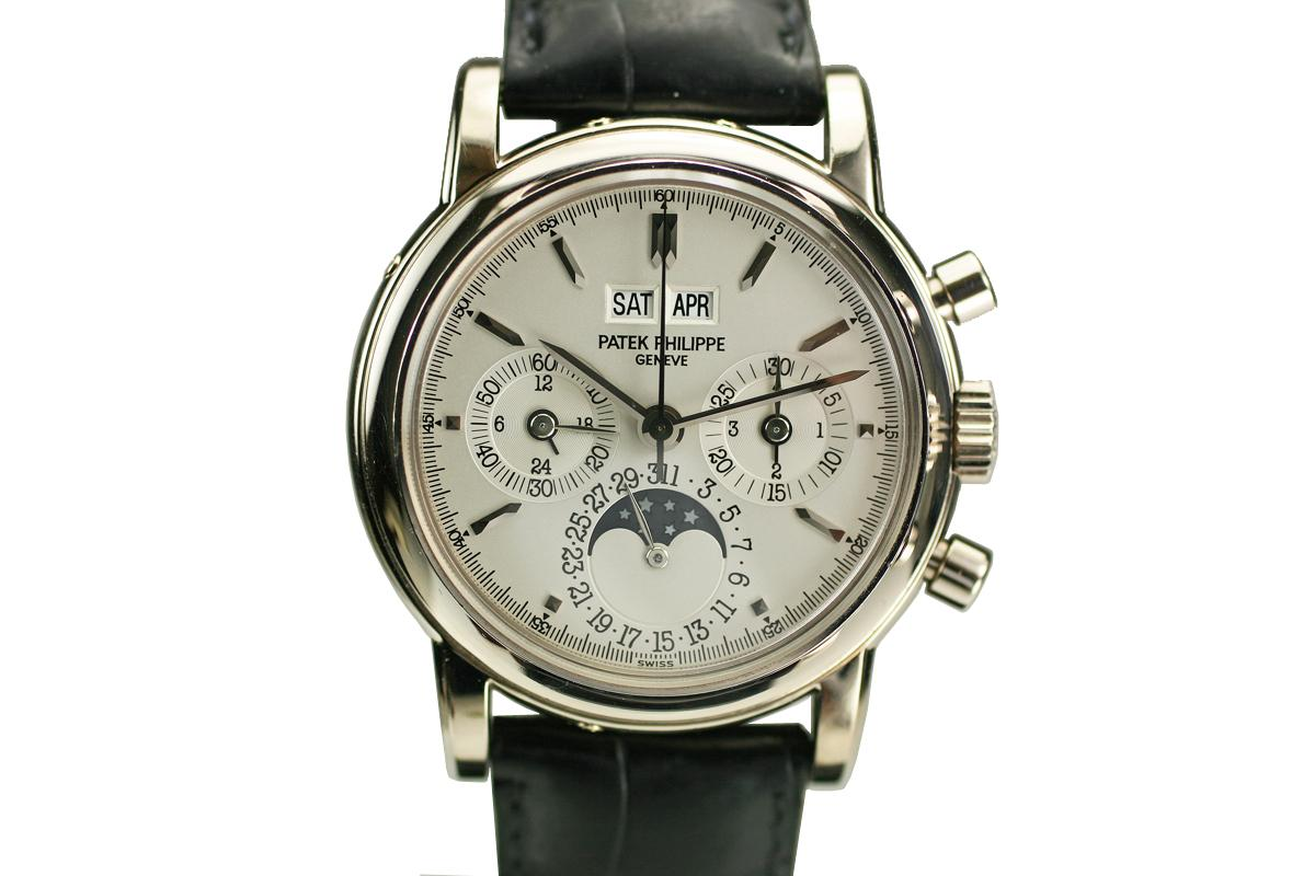 1999 patek philippe perpetual calendar moon phase chronograph watch for sale mens modern for Patek phillipe watch